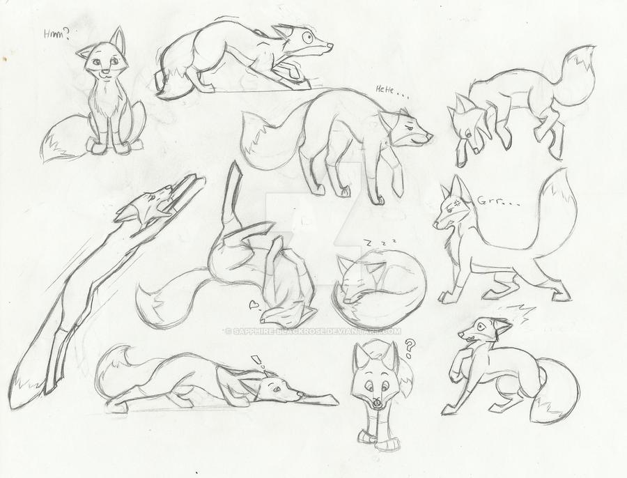 Fox Cartoon Sketches By Sapphire Blackrose On Deviantart