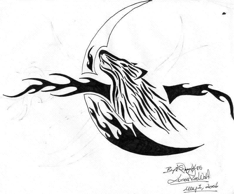 Black Wolf Howling Drawing Howling wolf tattoo by