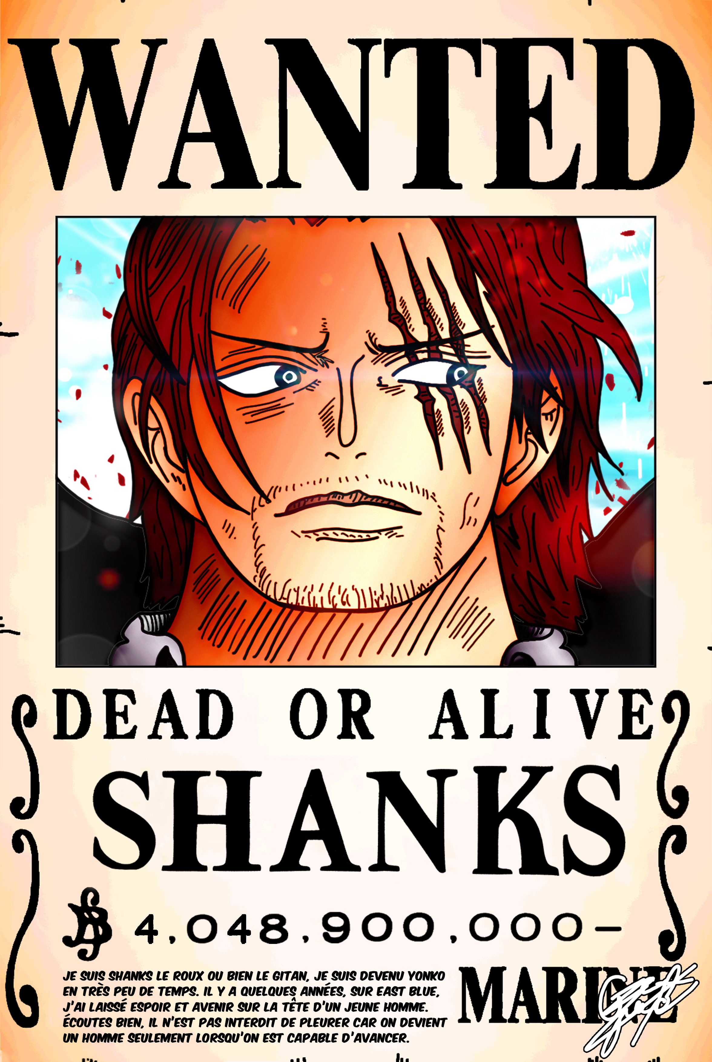 Wanted Poster The Yonko Shanks 40 Billion Berrys By Axel0w