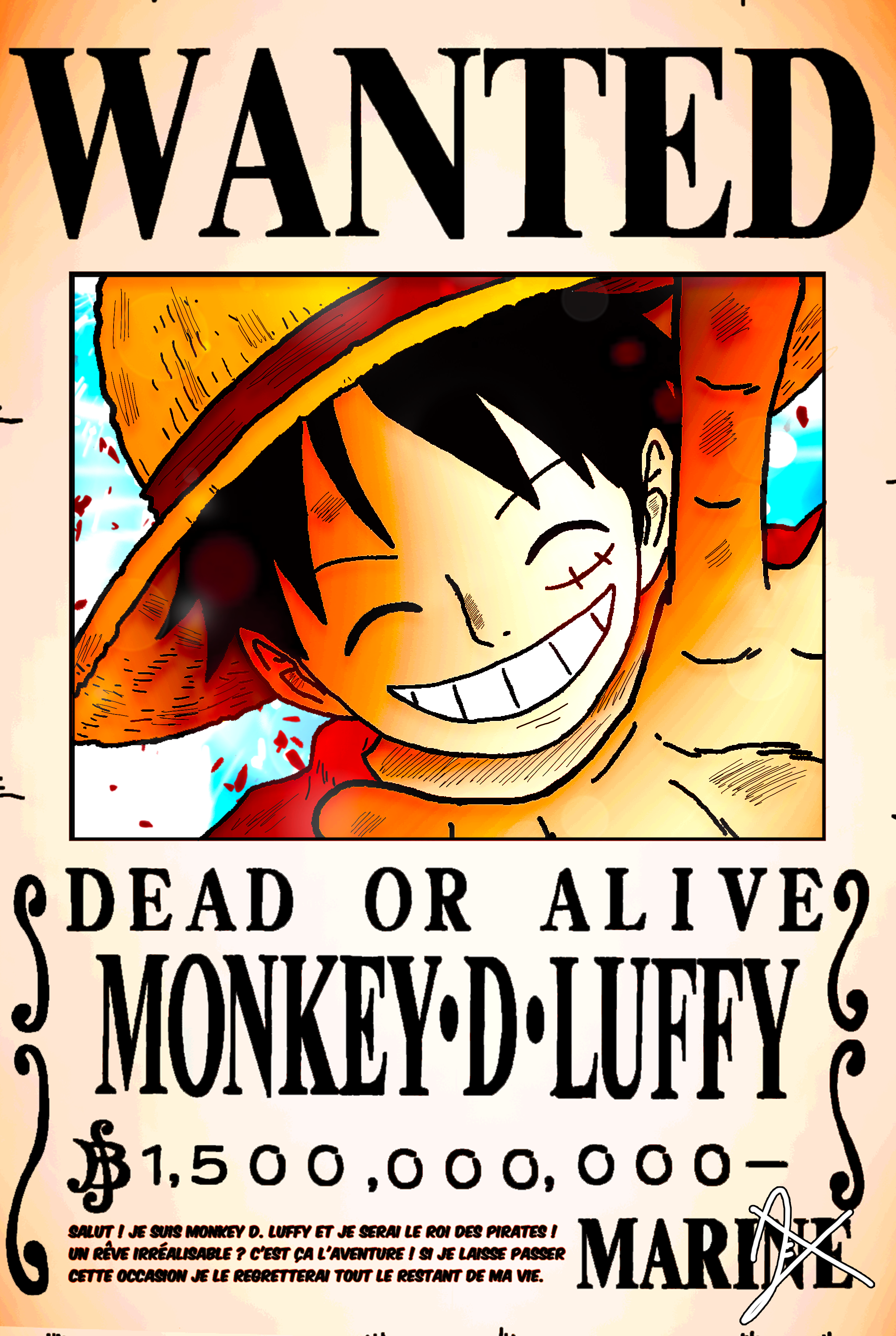 Wanted Poster Monkey D Luffy 1 5 Billion Berrys 2 By Axel0w On Deviantart