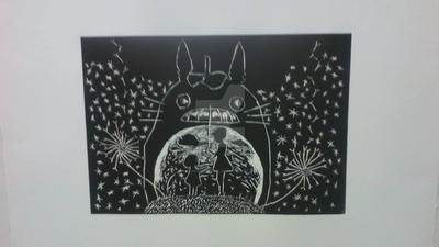 Totoro Woodcut Print by vampirebites18