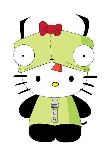 FanArt- Invader Zim (Gir) in Hello kitty Suit by vampirebites18