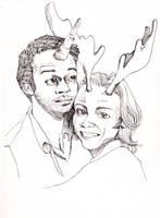 castiel the unicorn and sammy the moose by kiddhe