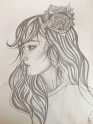 Rose in her hair
