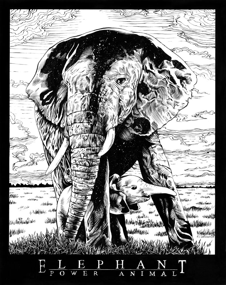 Elephant Power Animal drawing by renonevada