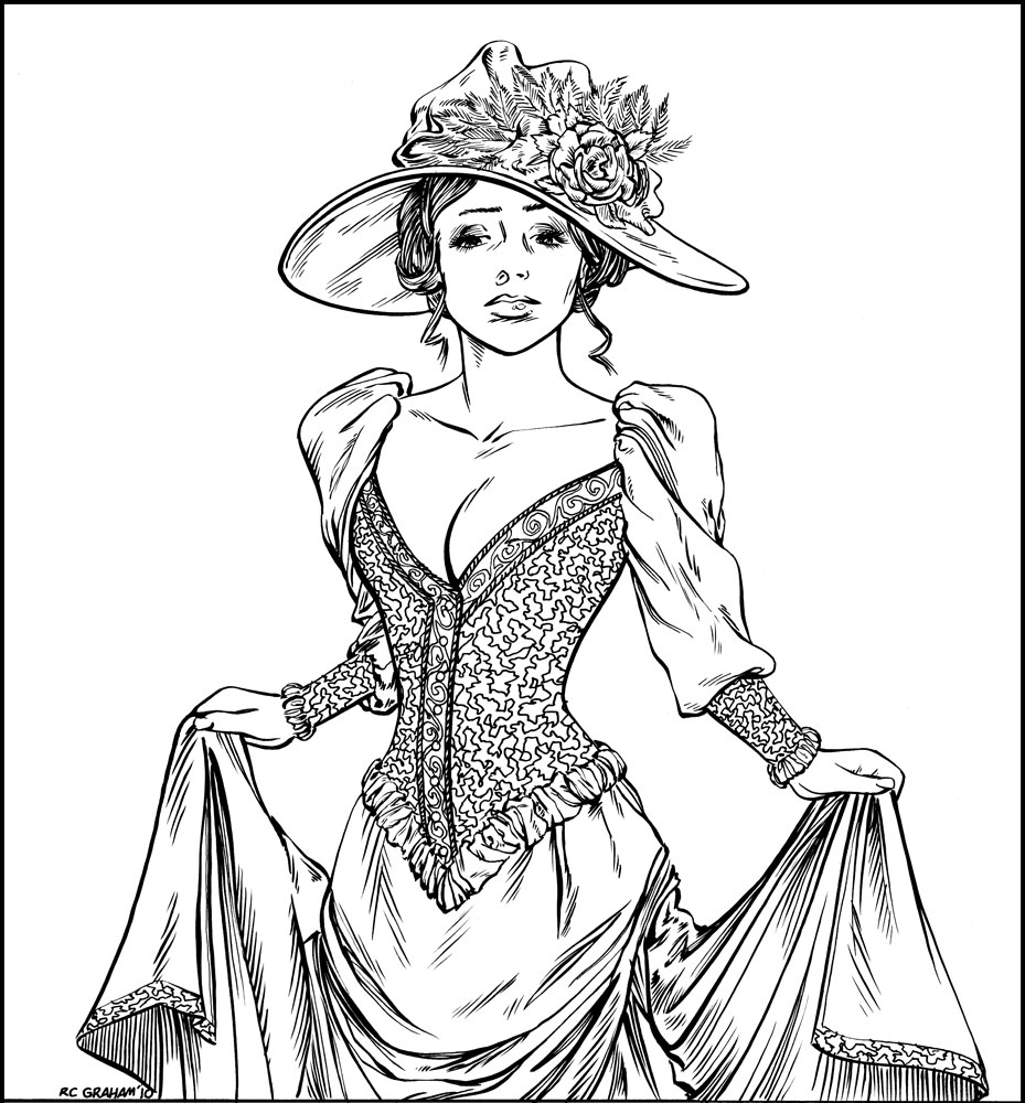 victorian print coloring pages - photo#24