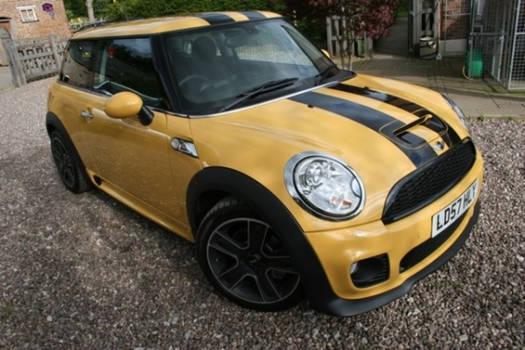 Yellow Mini Cooper with Black Stripes