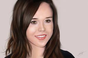 Ellen Page Digital Painting by isaiahpaulcabanting