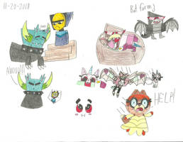 UNKY - Vamp-Hawk and Were-Malice doodles by worldofcaitlyn