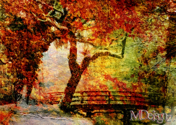 Little Bridge Surrounded By Gypsy Colors Of Autumn by 33M