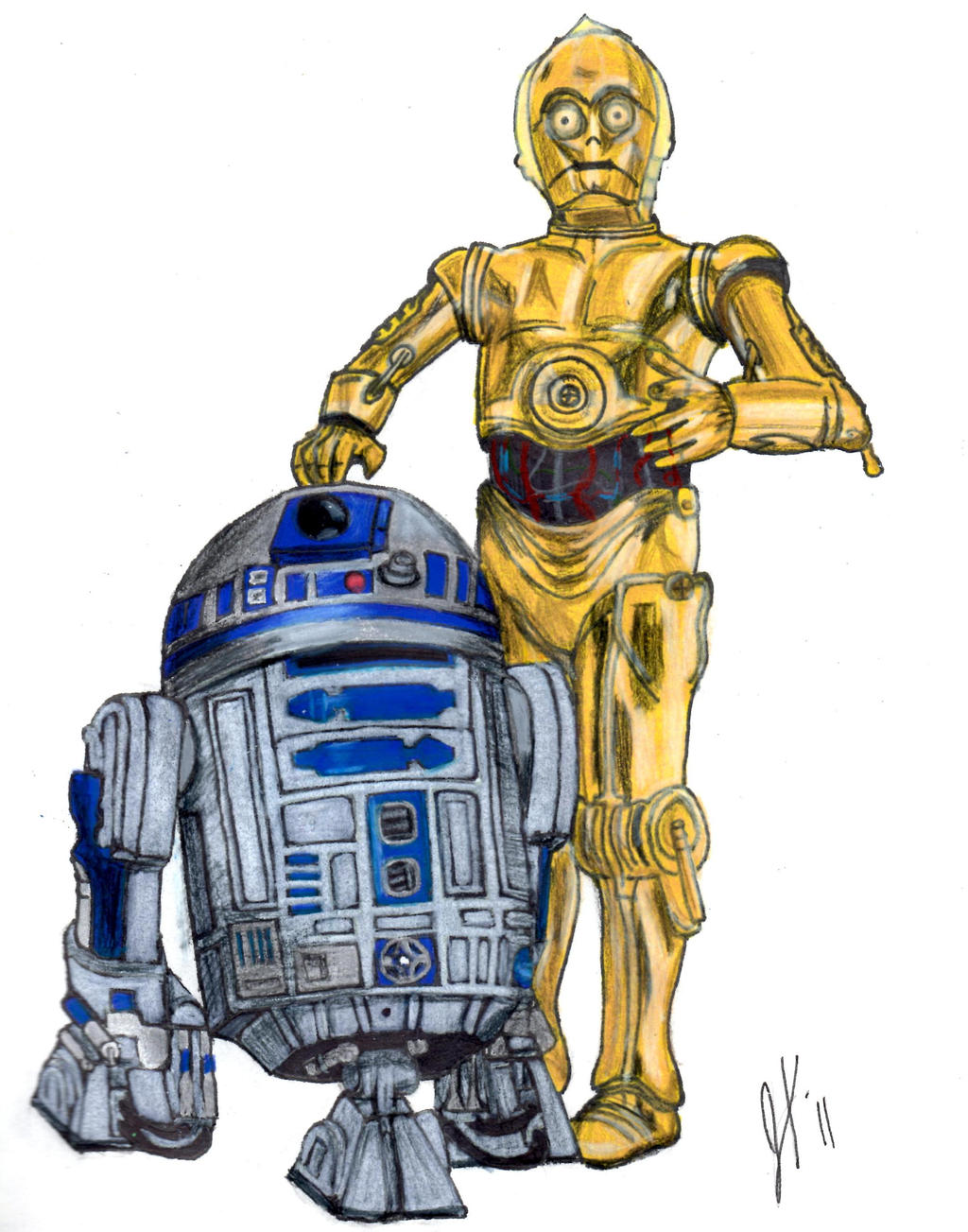 R2-D2 and C-3PO by GetItTogetherMerlin on DeviantArtR2d2 And C3po Drawing