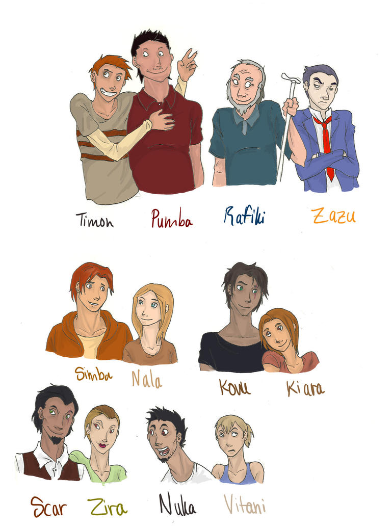 Lion king characters humans by rhymeswithmonth on deviantart for Book of life characters names