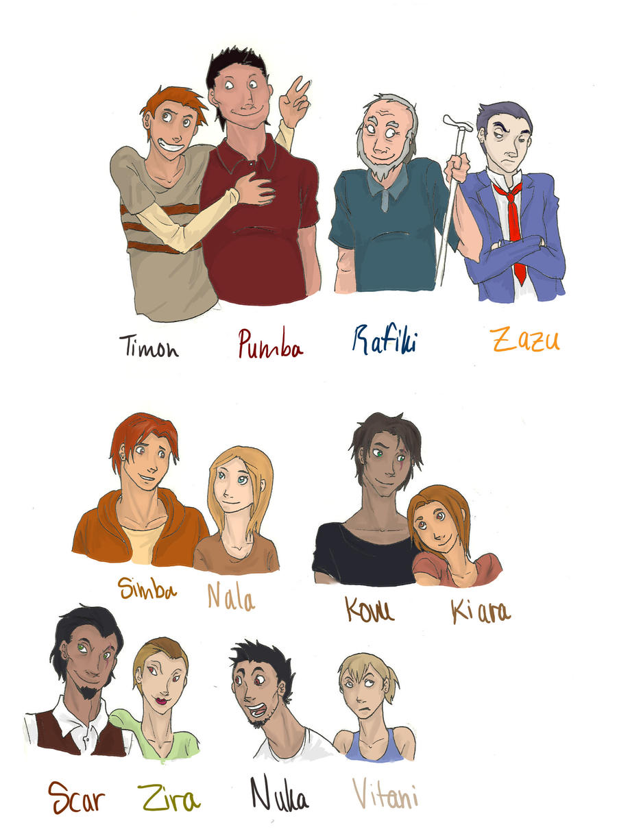 Lion King Characters HUMANS by rhymeswithmonth on DeviantArt