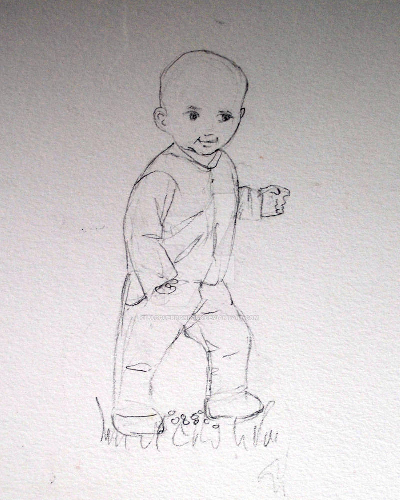 Pencil sketch child walking by lacquerroneous