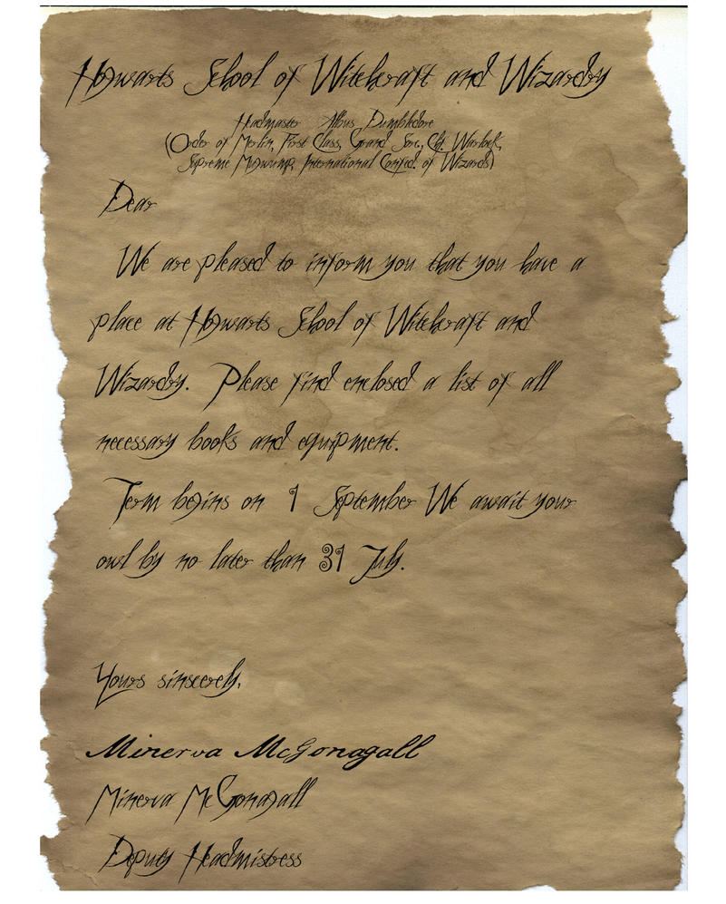 Hogwarts acceptance letter by onegoldenteaspoon on deviantart for Letter from hogwarts template
