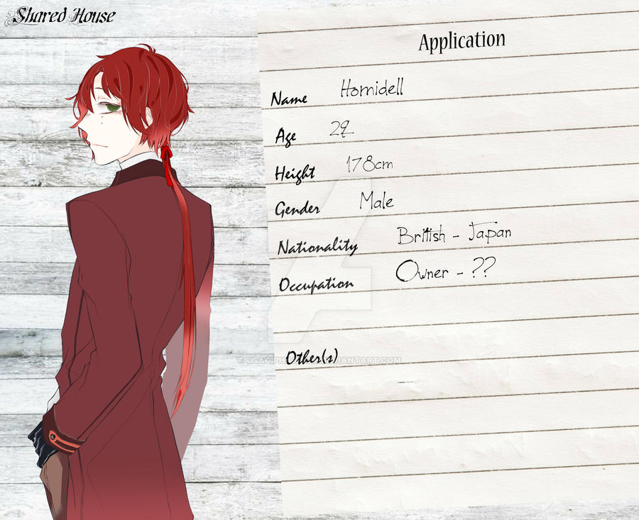 Shared House's Character Sheet - Homidell by UsagiPhantom