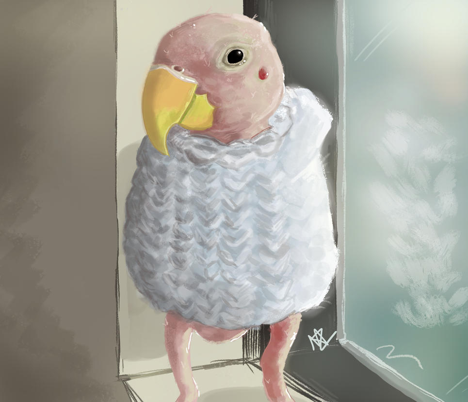 Rhea the Naked Birdie by silver1ining