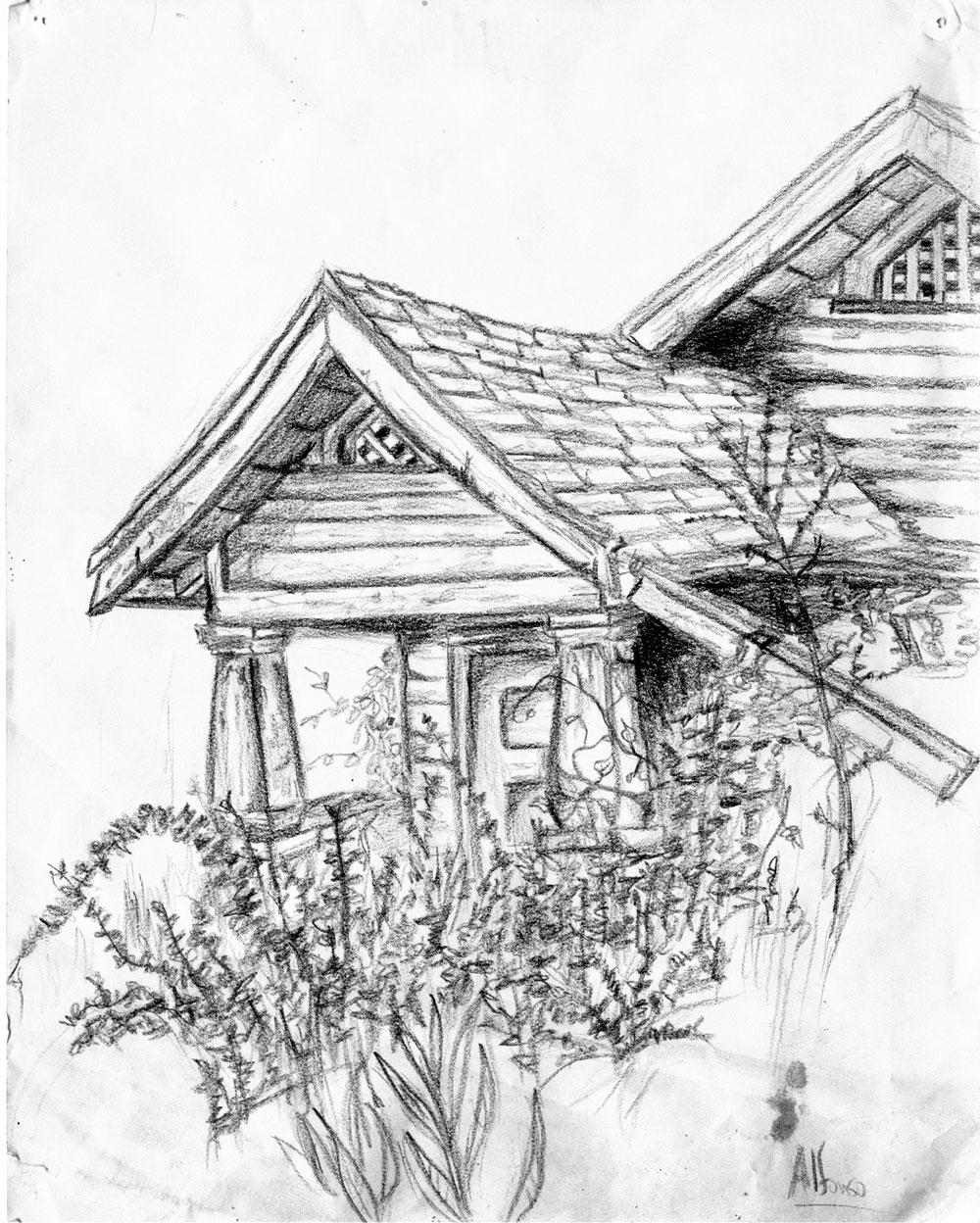 Old house sketch by roman on deviantart for Drawings of a house