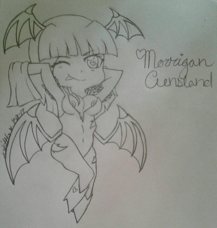 Morrigan /outline/ by NekoCleaverGirl