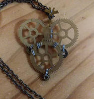 Heart-Shaped Clock Parts Pendant Necklace