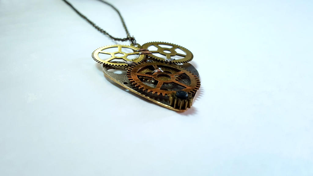 Heart-Shaped Clock Parts Pendant Necklace (2) by Nibroc99