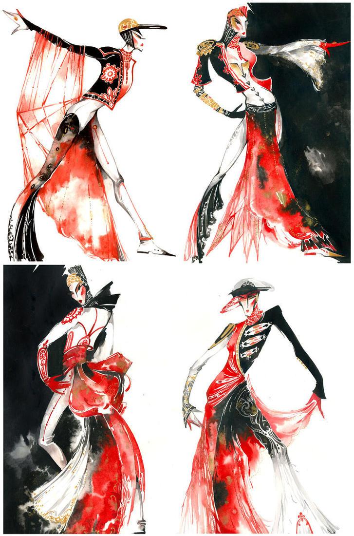 Rouge et Noir - Fashion sketch by Callista1981