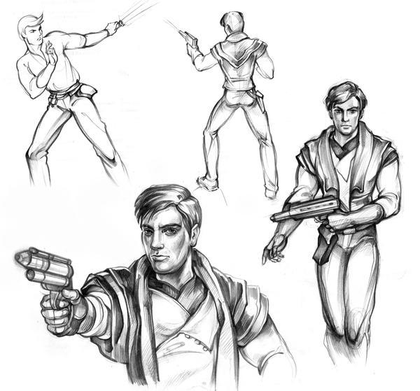 Atton Rand sketches by Callista1981