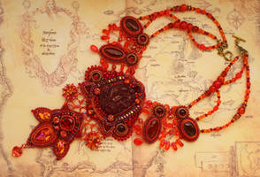 Song of Fire - Embroidered Necklace