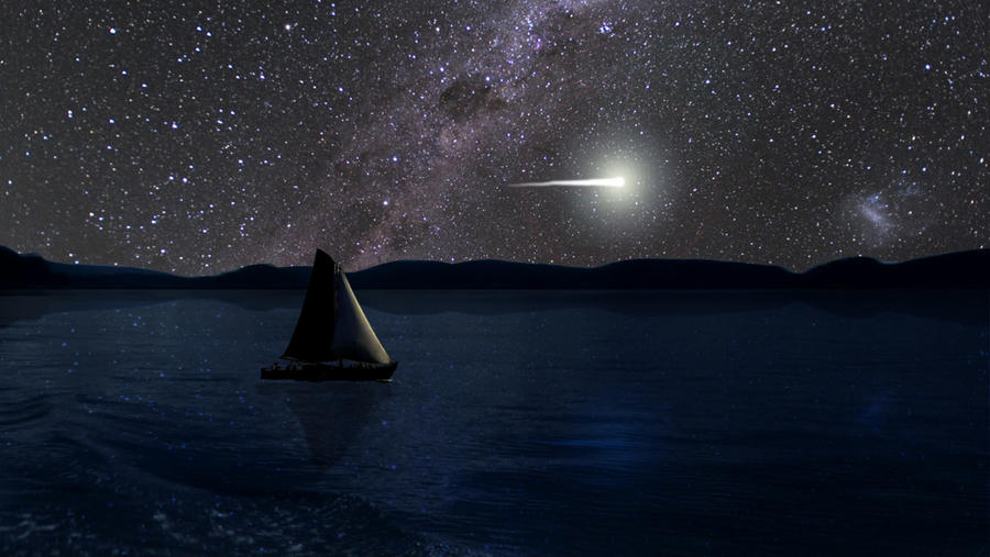 sailboat under beautiful night sky wallpaper