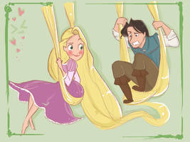 Rapunzel and Flynn swing by vanipy05