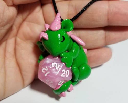 Green and Pink Sleeping Baby Dragon D20 Necklace