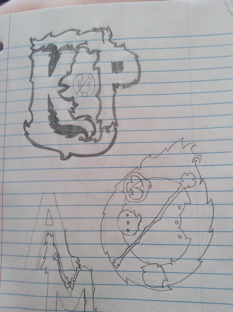 My Initials, and my GF's name in Galifrean by bamb00zleBlue