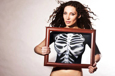 skeleton in frame bodypainting by AngieStock