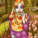 muslimah eating cookies