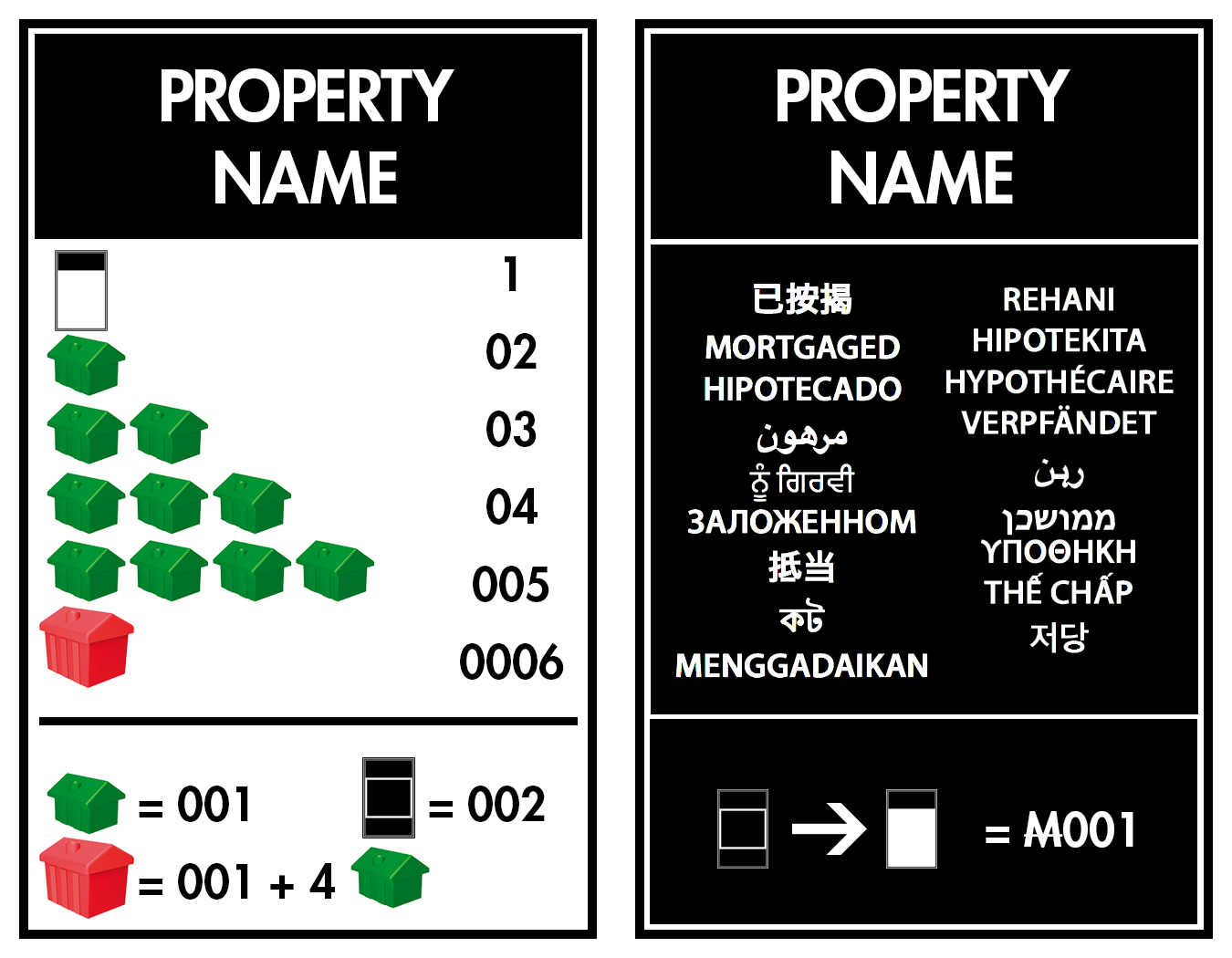 Monopoly properties cards template the for Monopoly property cards template