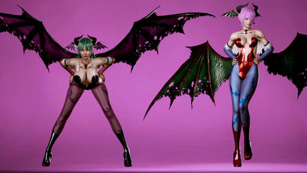 Morrigan And Lillith Aensland - Wallpaper 2 by Hypen13