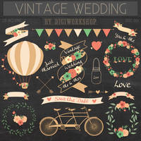 Vintage Wedding Clipart by DigiWorkshopPixels