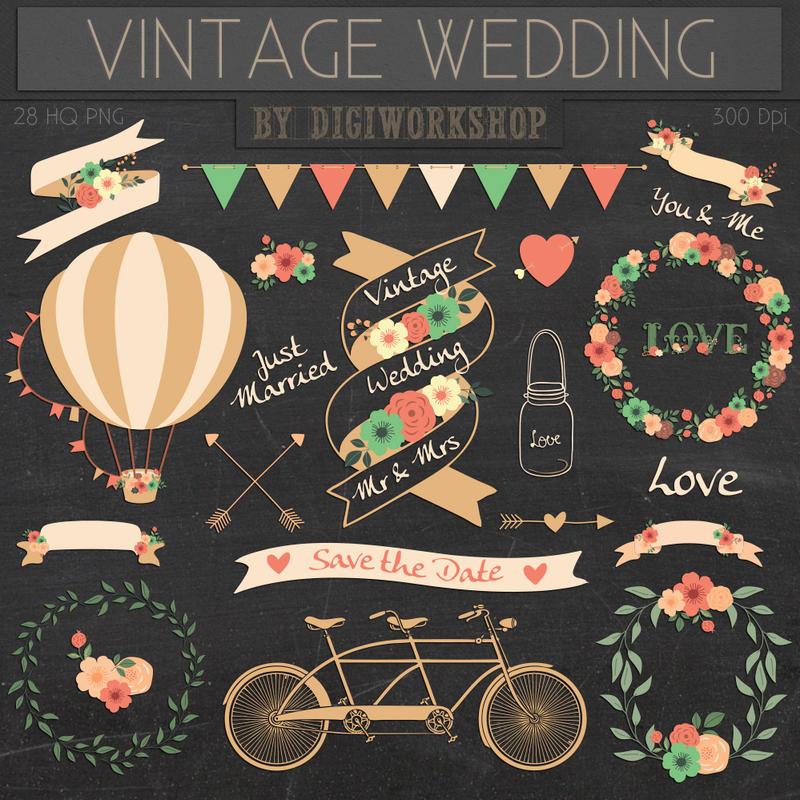 Vintage Wedding Clipart By DigiWorkshopPixels