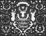 Chalkboard Antlers Clipart