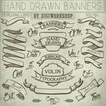 Hand Drawn Banners Clipart by DigiWorkshopPixels