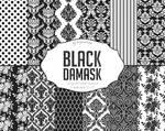 Black White Damask Digital Paper
