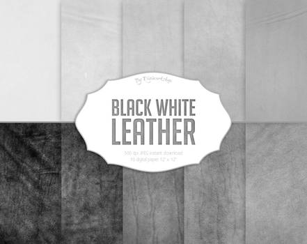 Leather Digital Paper Black White Leather