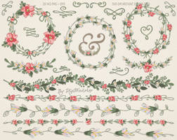 Floral Wedding Clipart Wedding Flowers by DigiWorkshopPixels