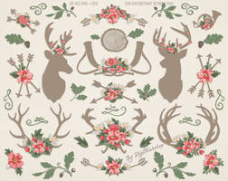 Rustic Wedding Clipart Antlers Flowers