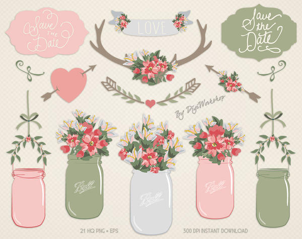 Mason Jar Clip Art Clipart Floral Mason Jar by DigiWorkshopPixels on ...