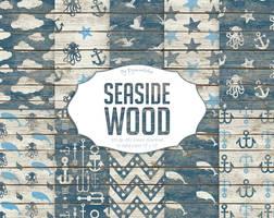 Seaside Digital Paper Seaside Wood  by DigiWorkshopPixels