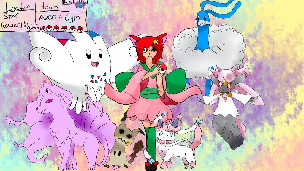 Fairy gym leader Star's team by RosyandScourge