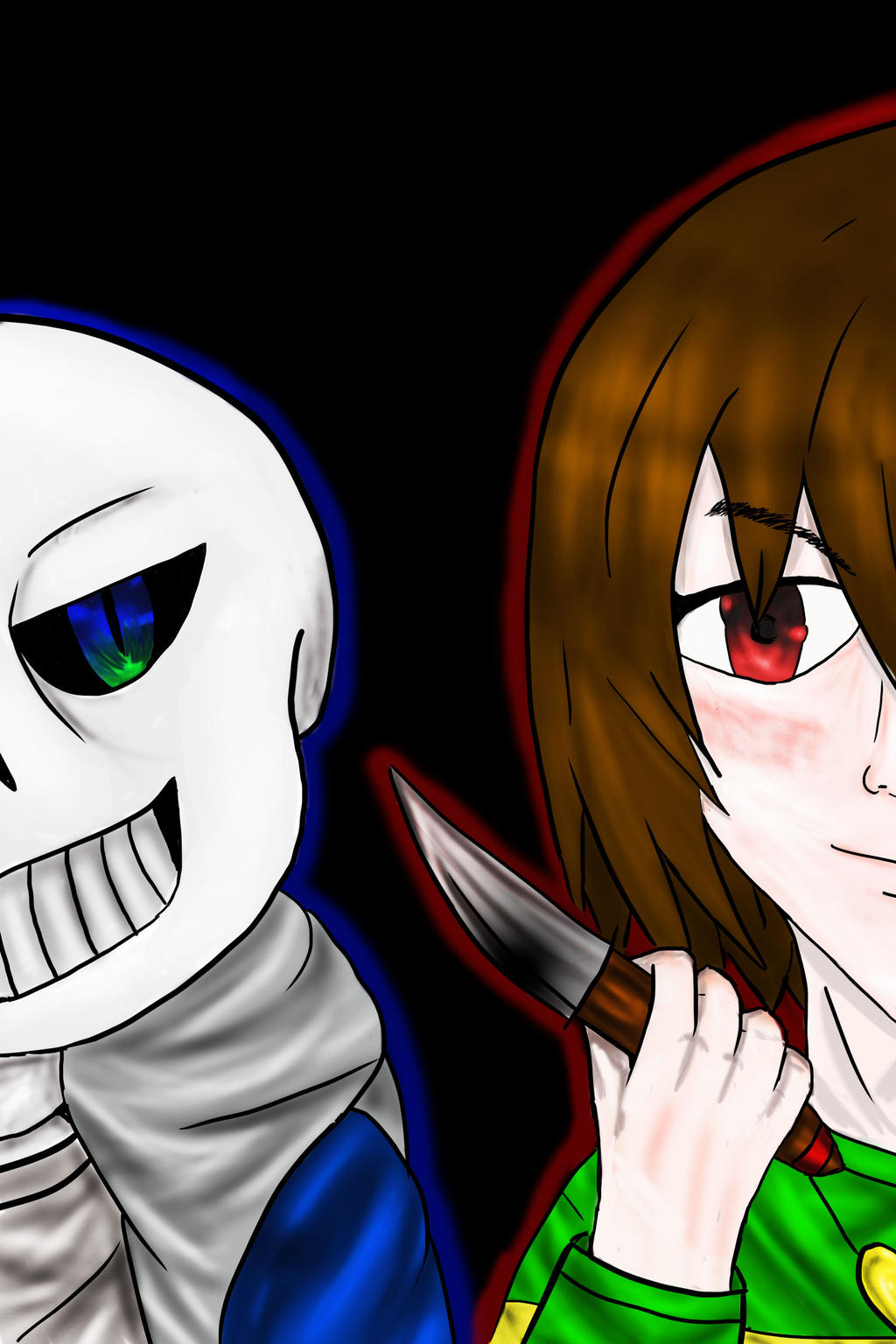 Chara vs Sans by LibraryCrew