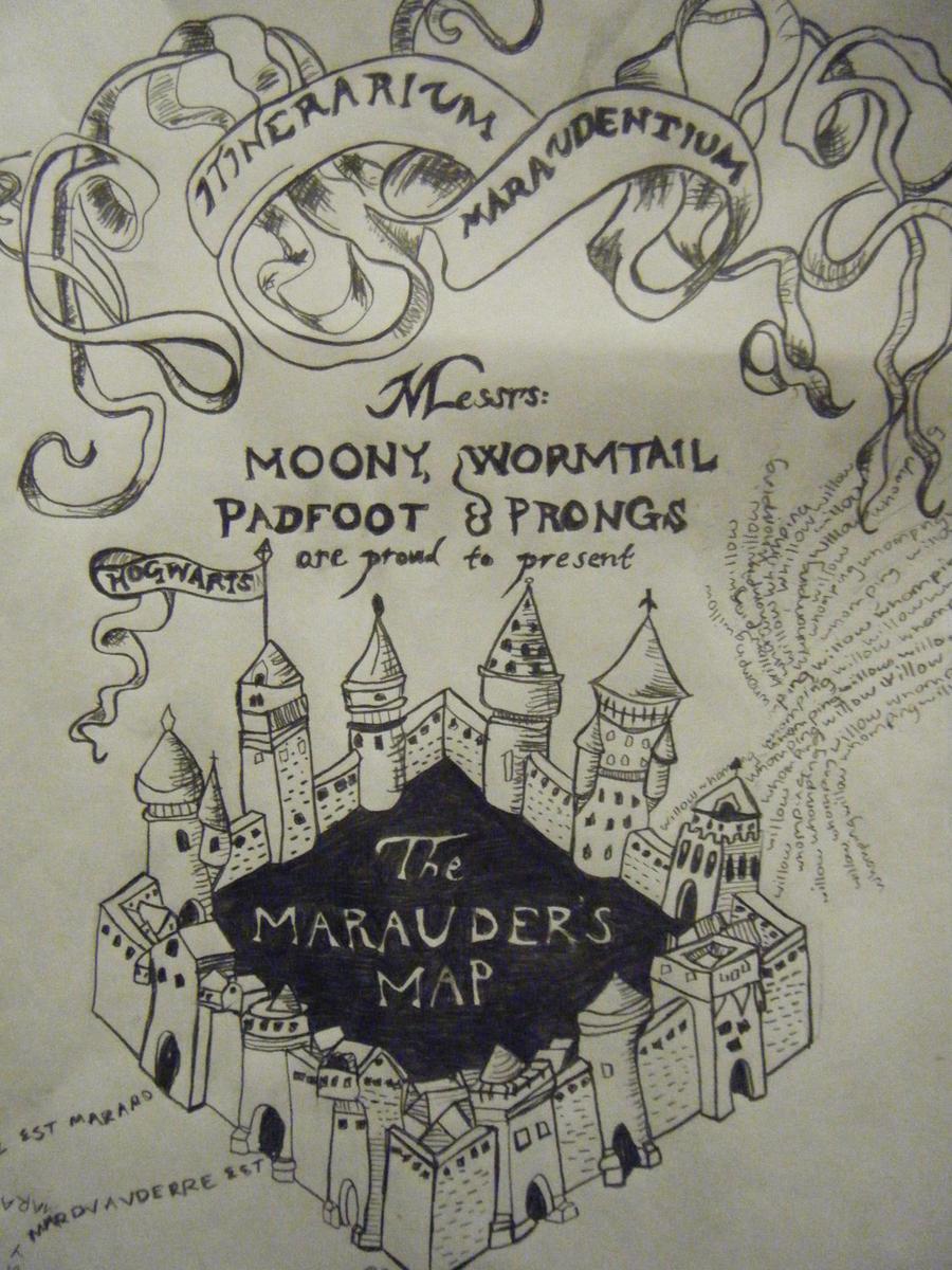 Marauders Map by twinklestarr-chan on DeviantArt |Marauders Map Drawing