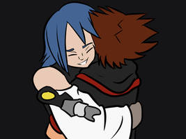 Aqua Hugging Sora by Flautist4ever